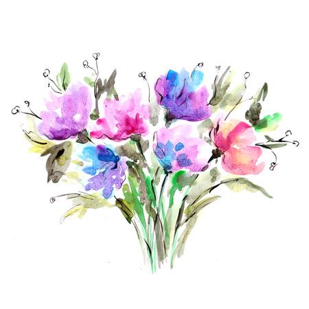 Floral background Aquarelle bouquet floral carte d'anniversaire Banque d'images - 33649177