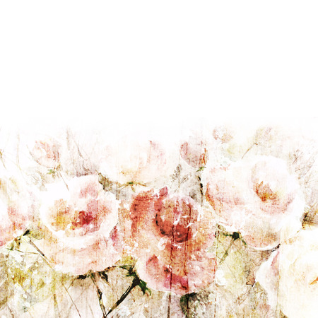 Vintage floral background  Watercolor floral bouquet  Birthday card 版權商用圖片