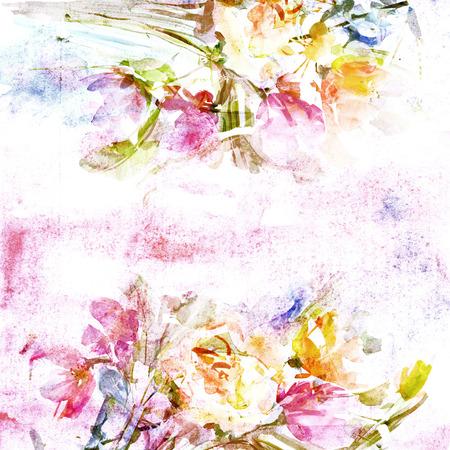 Floral background  Vintage birthday card  Floral bouquet