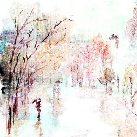 uomo sotto la pioggia: Acquerello paesaggio autunnale pioggia street art Paesaggio urbano