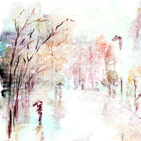 Paisaje de la acuarela calle lluvia de otoño Arte urbano paisaje Foto de archivo - 33654592