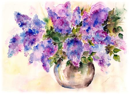 Purple lilac bouquet. photo