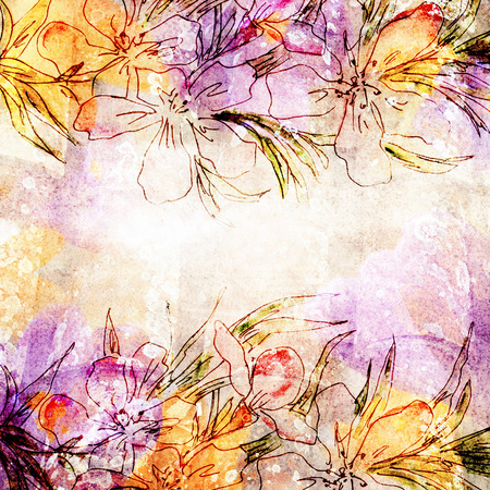 artificial flowers: Vintage floral background.