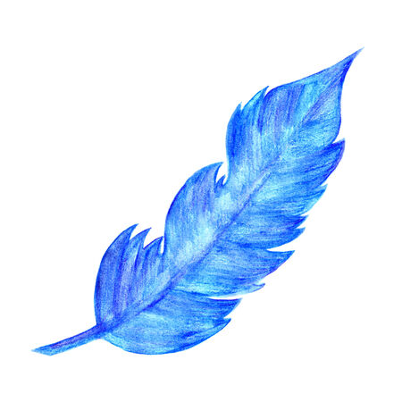 falling feather: Blue feather Watercolor painting.