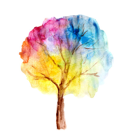 tree drawing: Colorful watercolor tree background