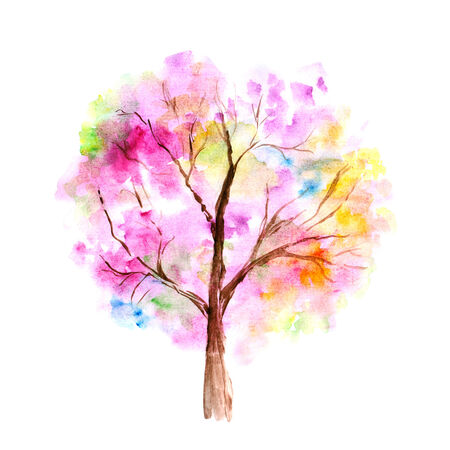 Colorful watercolor tree background.  photo