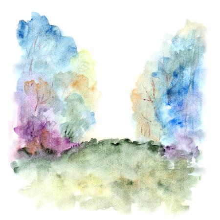 Paysage d'aquarelle. Peinture forêt. Banque d'images - 31769963