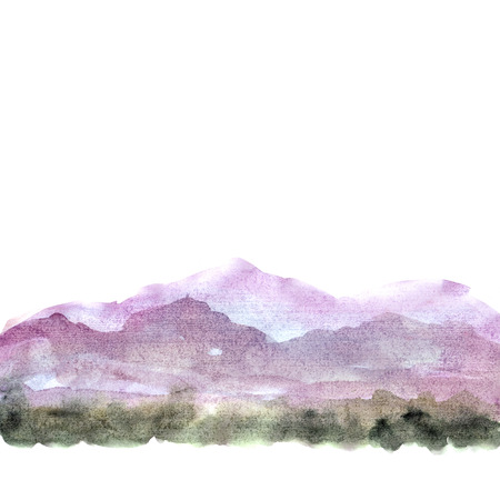 Watercolor painting landscape. Background with mountains. Banco de Imagens