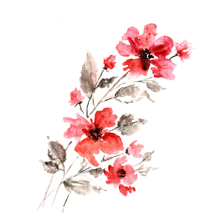 Watercolor floral bouquet.