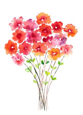 Watercolor floral bouquet.  Stok Fotoğraf