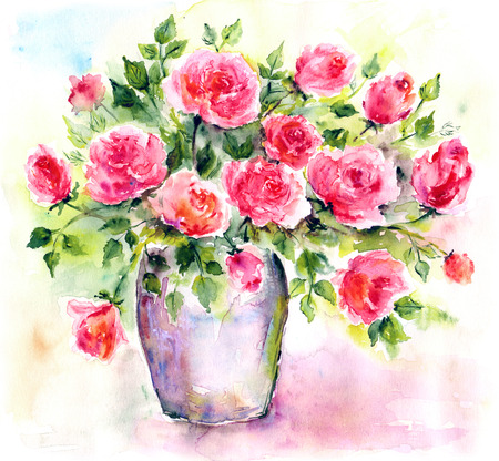 Watercolor floral bouquet.  Stock Photo