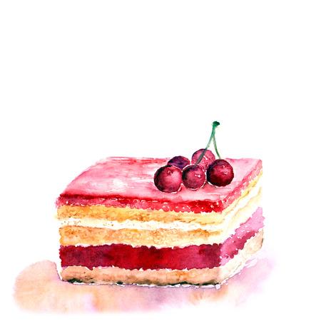 cream pie: Slice of cake Watercolor birthday card.
