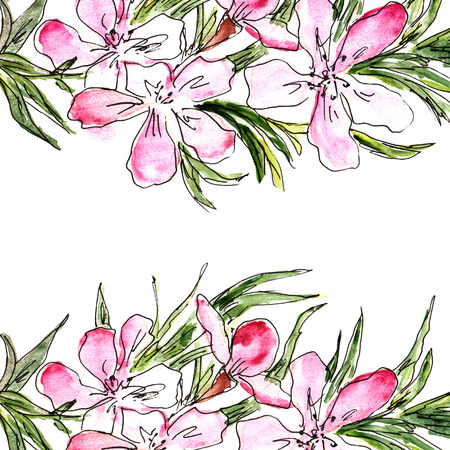 Floral background. Watercolor floral bouquet. Birthday card. Stock Photo