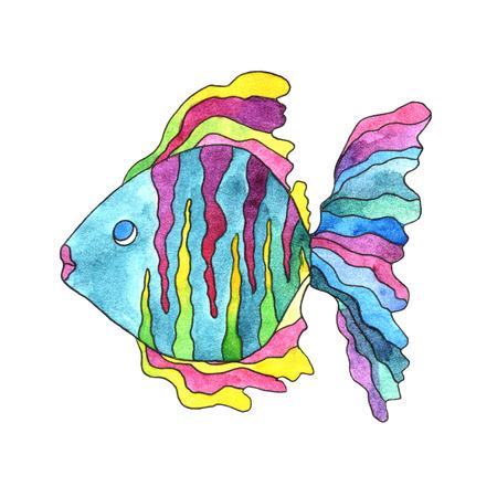 Paint exotic fish. Sea life. photo
