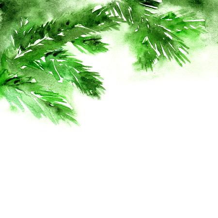Tarjeta de felicitación de la Feliz Navidad. Tarjeta del Año Nuevo con ramas de árboles cristmas acuarela. Foto de archivo - 33447851
