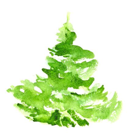 christmas watercolor: Christmas tree. Watercolor illustration. Christmas festive card. Stock Photo