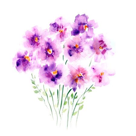 Les Fleurs. Aquarelle bouquet floral. Floral background. Carte d'anniversaire. Banque d'images - 33446649