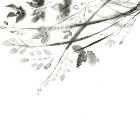 ancient japanese: Vintage floral background. Grunge background. Japanese paint. Stock Photo