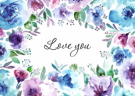 Floral background. Watercolor floral bouquet. Birthday card. Floral decorative frame. Ilustração