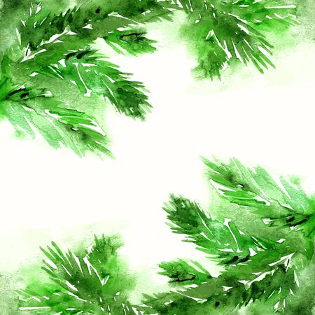 pine needles: Merry Christmas greeting card. New Year card with watercolor cristmas tree branches.