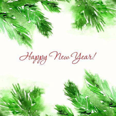 Merry Christmas greeting card. Cartes de Nouvel An avec l'aquarelle cristmas branches d'arbres. Banque d'images - 34095552