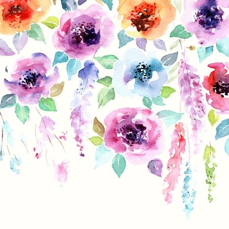 花の背景。水彩画の花の花束。誕生日カード。花の装飾的なフレーム。