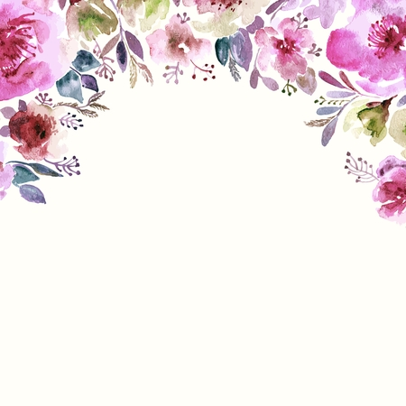 Floral background. Aquarelle bouquet floral. Carte d'anniversaire. Cadre décoratif floral. Banque d'images - 34095564
