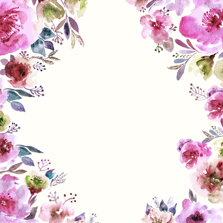 background floral: Floral background. Watercolor floral bouquet. Birthday card. Floral decorative frame. Illustration