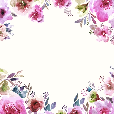 Floral background. Watercolor floral bouquet. Birthday card. Floral decorative frame. Illustration
