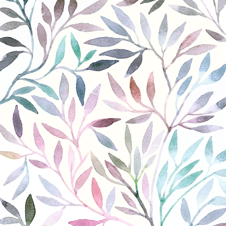 Watercolor floral pattern. Leaves background. Greeting card. Banco de Imagens - 34095966