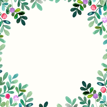 Floral background. Watercolor floral bouquet. Birthday card. Floral decorative frame. 向量圖像