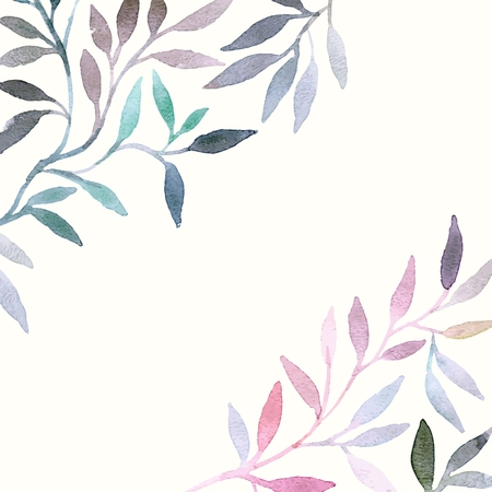 Watercolor floral pattern. Leaves background. Greeting card.