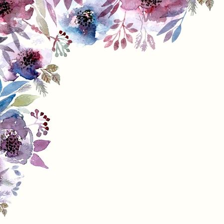 Floral background. Aquarelle bouquet floral. Carte d'anniversaire. Cadre décoratif floral. Banque d'images - 34096041