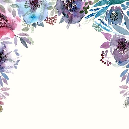 Floral background. Aquarelle bouquet floral. Carte d'anniversaire. Cadre décoratif floral. Banque d'images - 34096044