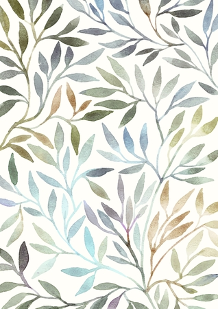 Watercolor floral pattern. Leaves background. Greeting card. Banco de Imagens - 34096047