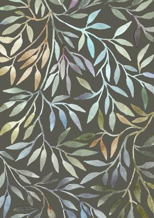 Aquarelle motif floral. Feuilles de fond. Carte de voeux. Banque d'images - 34096048