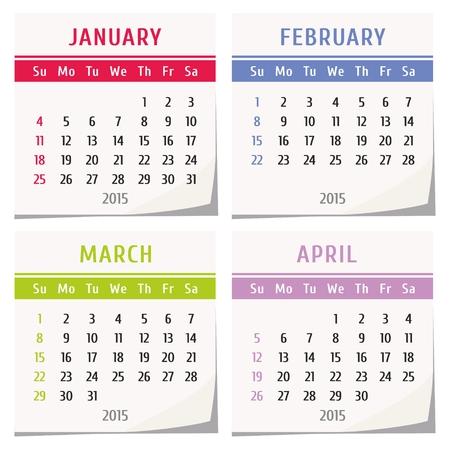 detachable: 2015 calendar design - set of four months (january, february, march, april)
