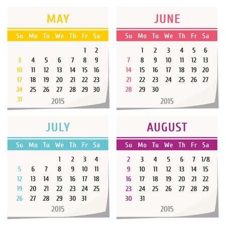detachable: 2015 calendar design - set of four months (may, june, july, august)