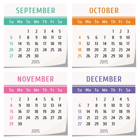 2015 calendar conception - un jeu de quatre mois (septembre, octobre, novembre, décembre) Banque d'images - 34096059