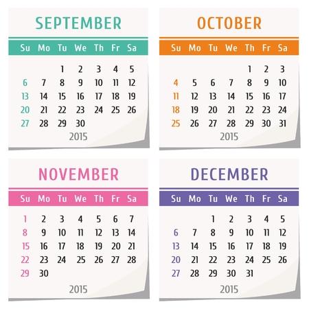 2015 calendar design - set of four months (september, october, november, december)