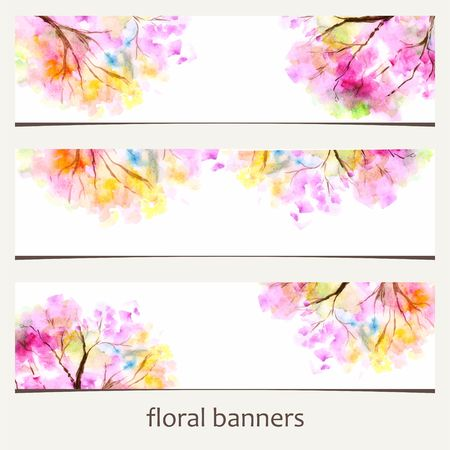 grungy header: Floral banners. Watercolor floral background. Illustration