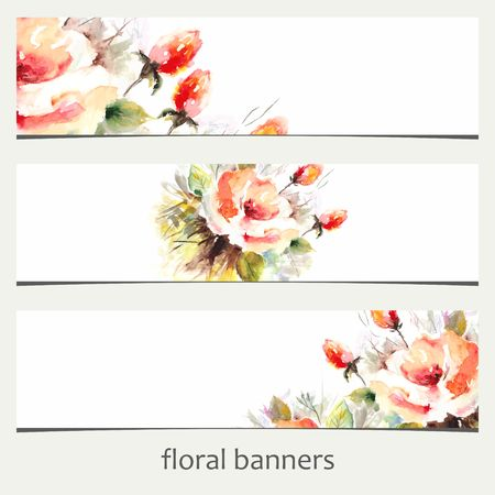 Floral banners. Watercolor floral background. 向量圖像