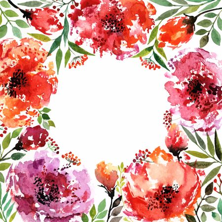 transparently: Floral background. Watercolor floral bouquet. Birthday card. Floral decorative frame. Illustration