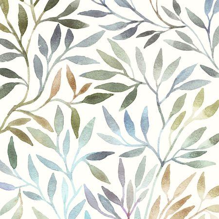 Aquarelle motif floral. Feuilles de fond. Carte de voeux.