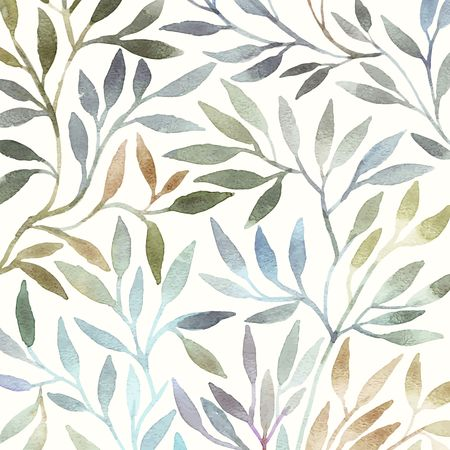 and organic: Watercolor floral pattern. Leaves background. Greeting card.
