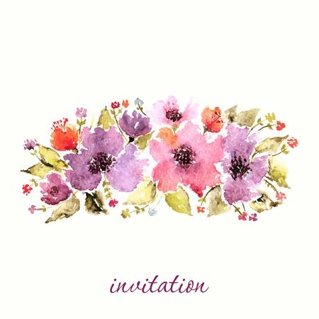 Carte d'anniversaire florale. invitation de mariage. Floral background. Aquarelle bouquet floral. Cadre décoratif floral. Banque d'images - 36152126
