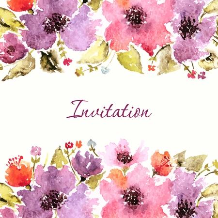花の誕生日カード。結婚式の招待状。花の背景。水彩画の花の花束。花の装飾的なフレーム。