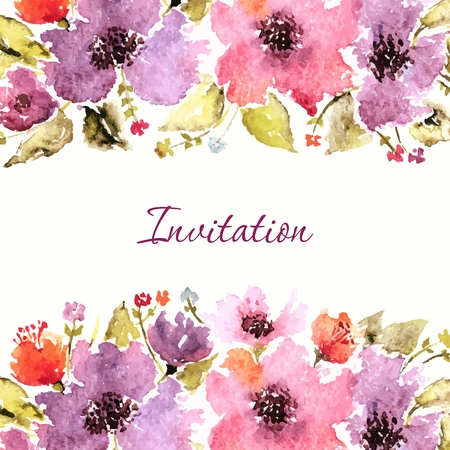 Carte d'anniversaire florale. invitation de mariage. Floral background. Aquarelle bouquet floral. Cadre décoratif floral. Banque d'images - 36152128