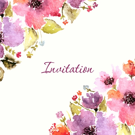flower drawings: Birthday floral card. Wedding invitation. Floral background. Watercolor floral bouquet. Floral decorative frame.