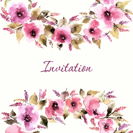 Birthday floral card. Wedding invitation. Floral background. Watercolor floral bouquet. Floral decorative frame.